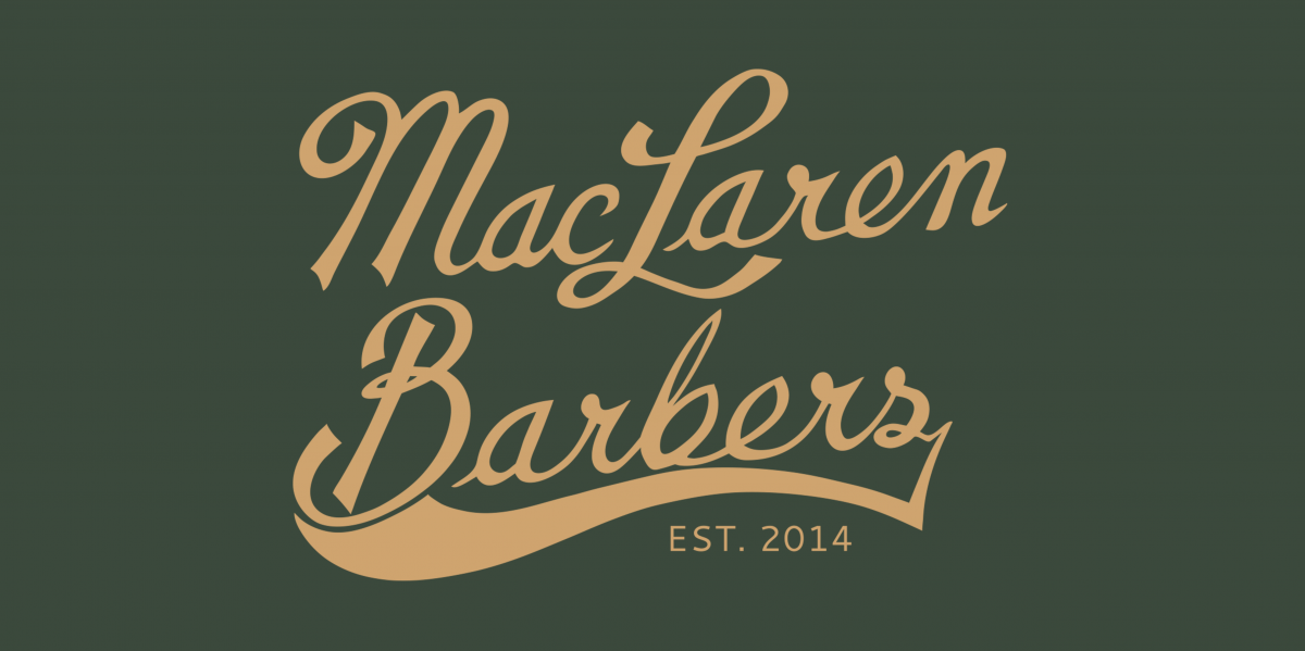 The MacLaren Barbers logo in it's new colors as of 2017.