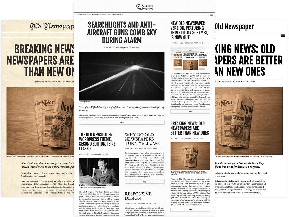 The three color schemes of Old Newspaper WordPress Theme.