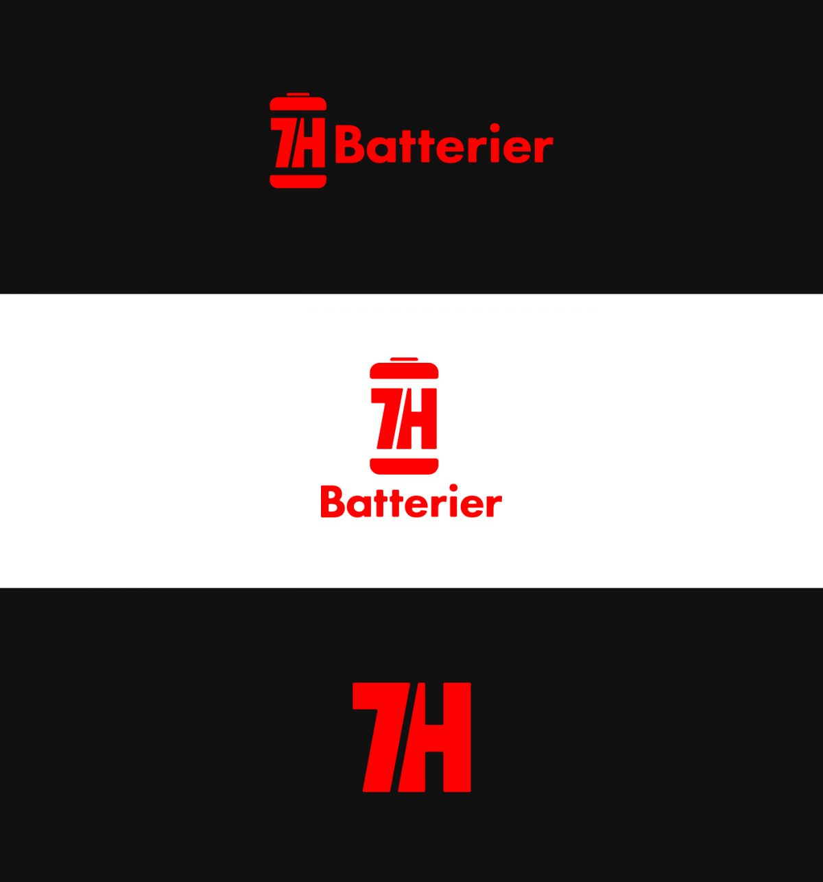7H Batterier logo variations.