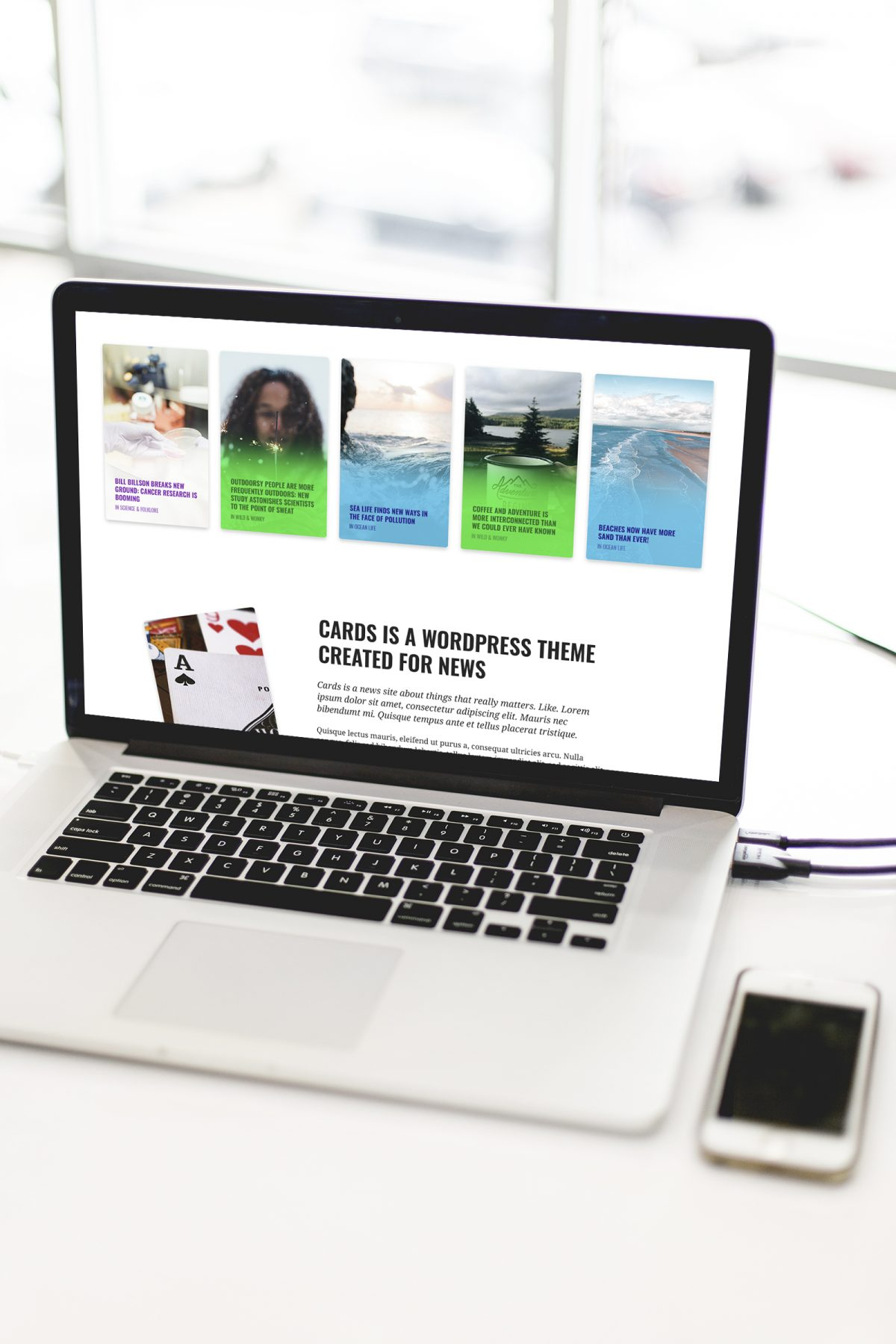 Cards WordPress Theme, a theme with news and blogging in focus, featuring distinctly colored categories.