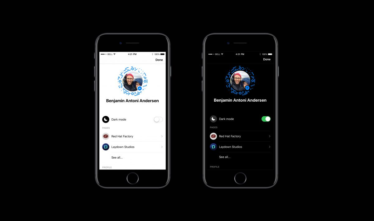 Showing how to turn on Dark Mode in Facebook Messenger